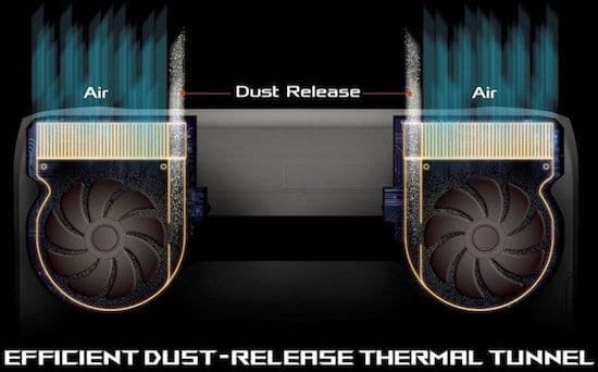 efficient dust release and thermal tunnel in Asus ROG G752VT