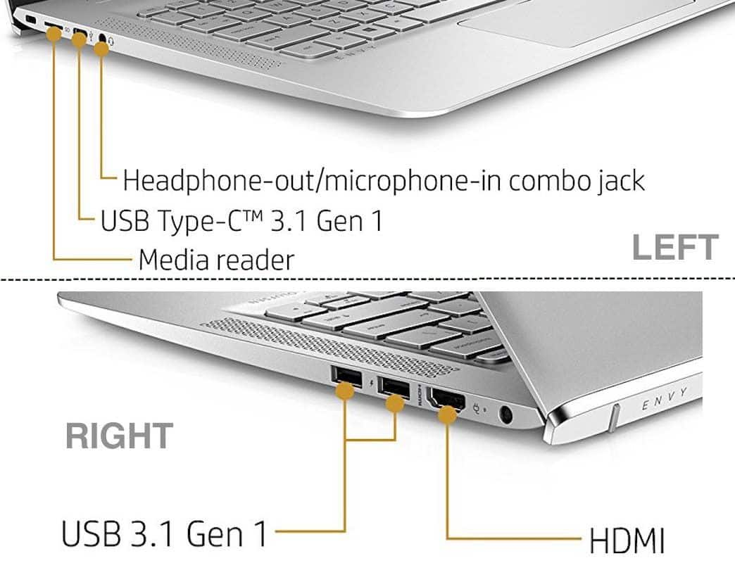 HP ENVY 13-ab016nr Notebook Ports and Slots