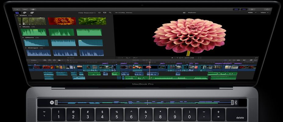 video editing on final cut pro touchbar representation