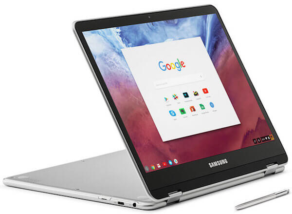 Samsung Chromebook Plus Convertible Touch Laptop Stand Mode