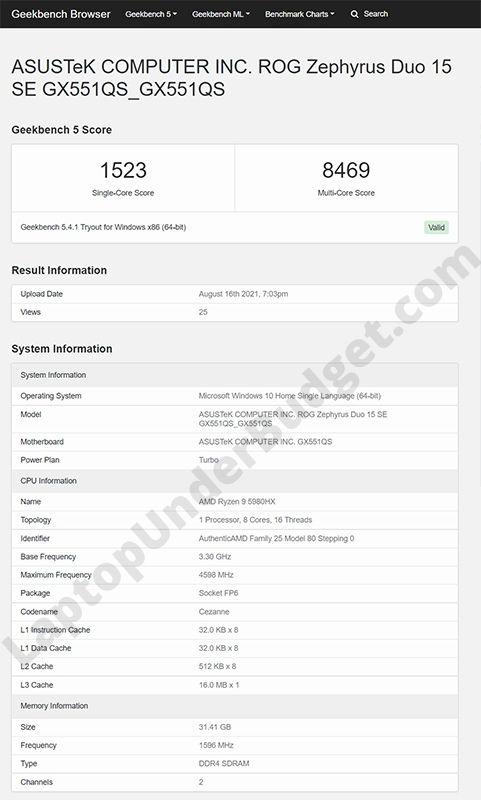Asus ROG Zephyrus Duo 15 SE with AMD Ryzen 9 5980HX Geekbench Test Result