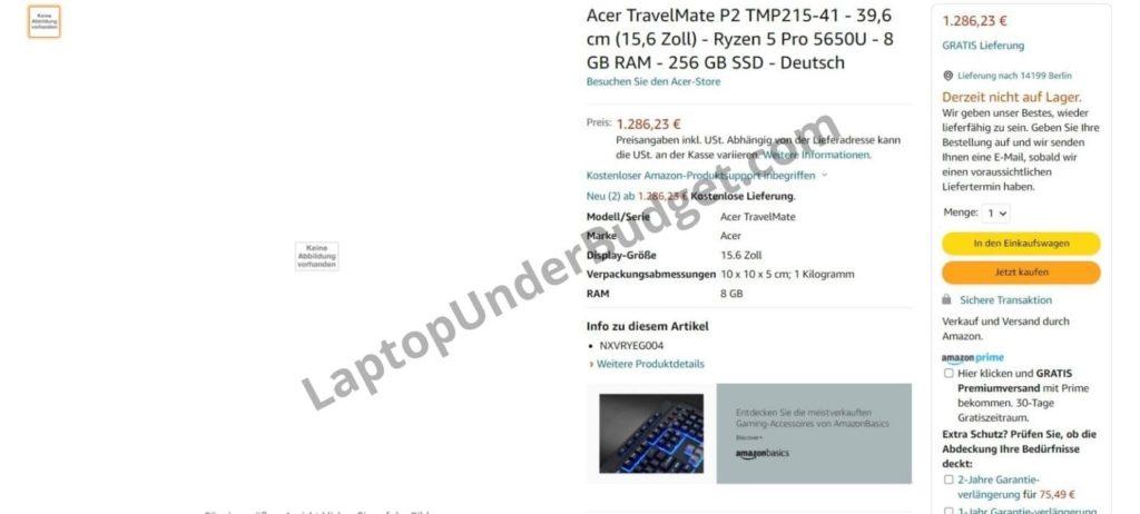 Acer TravelMate P2 Ryzen 5 Pro 5650U on Amazon Germany