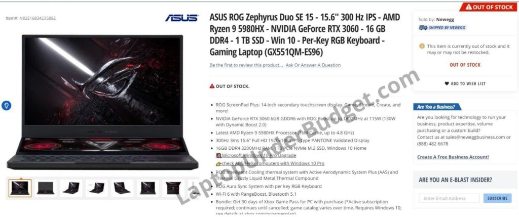 ASUS ROG Zephyrus Duo SE 15 with AMD Ryzen 9 5980HX spotted on NewEgg